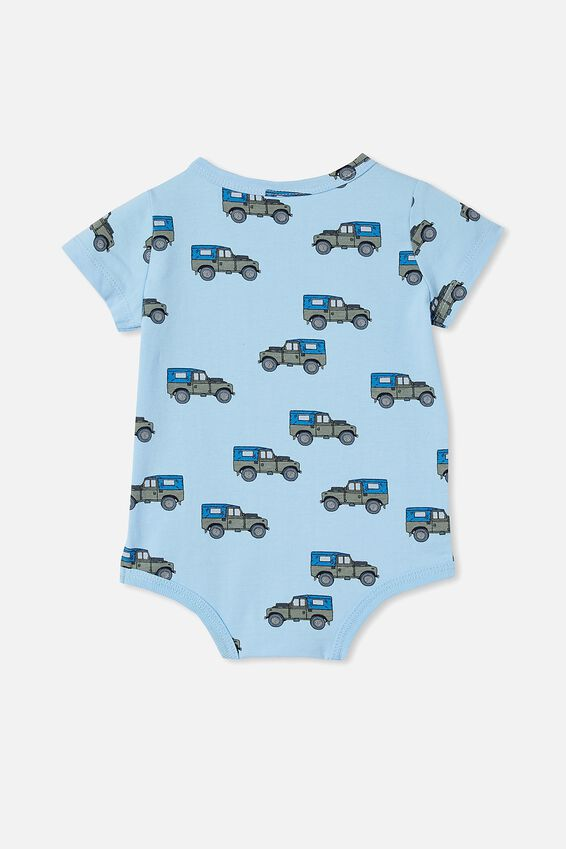 The Short Sleeve Bubbysuit, SKYE HAZE/BEEP BEEP