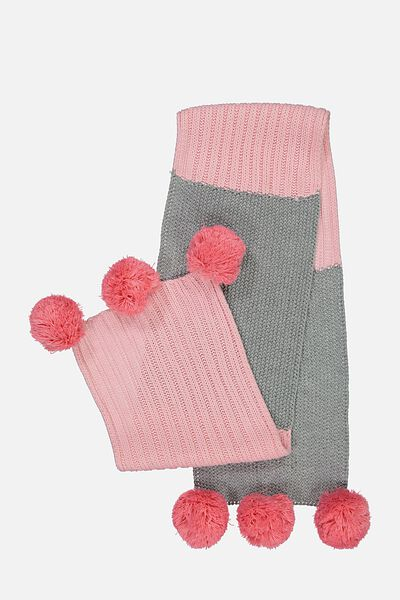 Contrast Knit Scarf, GREY MARLE/CRYSTAL ROSE