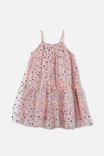 Iggy Dress Up Dress, DUSTY PINK/RAINBOW SPOT