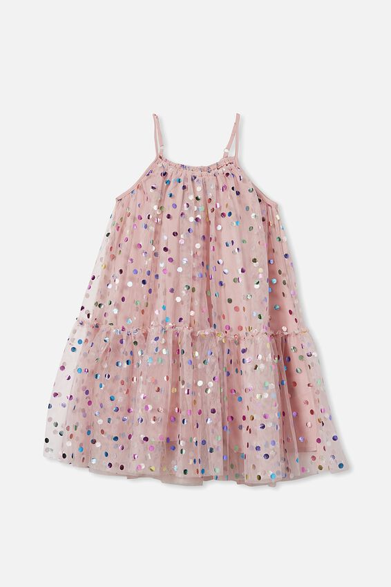 Iggy Dress Up Dress, DUSTY PINK/RAINBOW SPOT