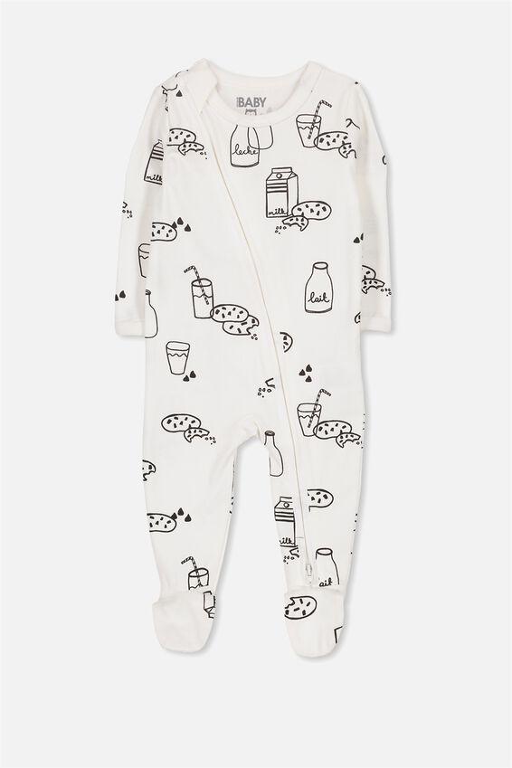 Sleep Mini Zip All In One Jumpsuit, VANILLA/MILK AND COOKIES