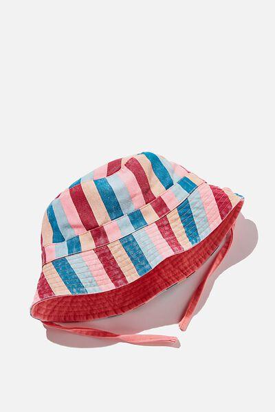 Reversible Bucket Hat, RETRO CORAL STRIPE