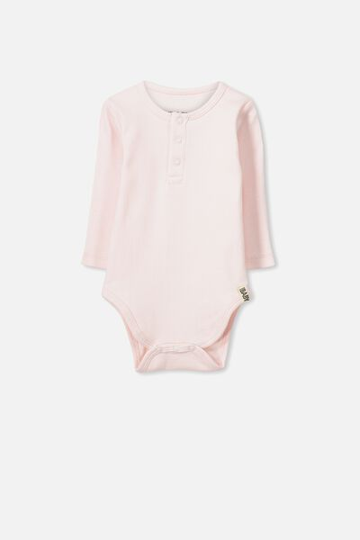 Mini Long Sleeve Henley Bubbysuit, PINK