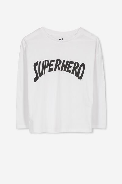 Penelope Long Sleeve Tee, WHITE/SUPERHERO/DROP