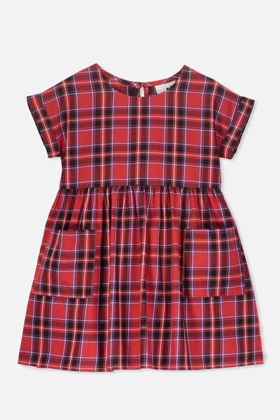 Malia Short Sleeve Dress, RALLY RED CHECK