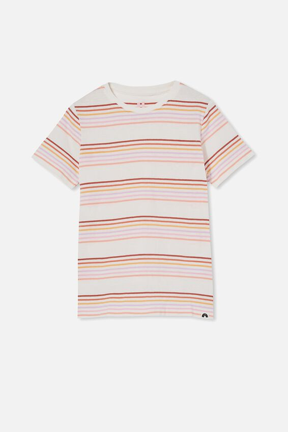 Core Ss Tee, VANILLA/MULTI RAINBOW STRIPE