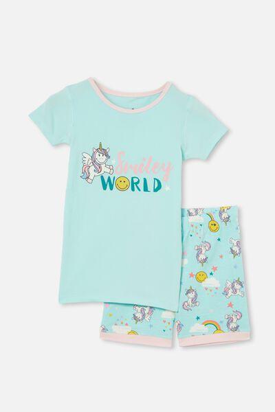 Nikki Short Sleeve Pyjama Set Licensed, LCN SMILEY UNICORNS DREAM BLUE