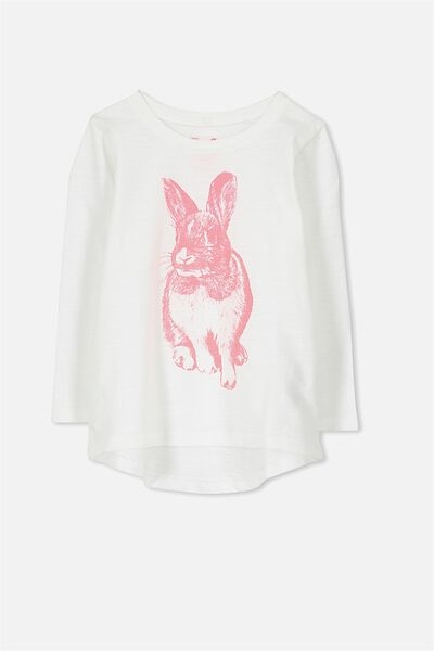 Penelope Long Sleeve Curved Hem, VANILLA/SLUB/HAND DRAWN BUNNY