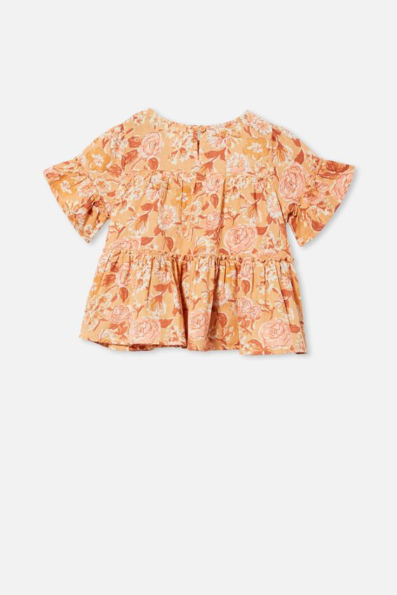 Frede Short Sleeve Frill Top, PEACHY/PAINTERLY FLORAL