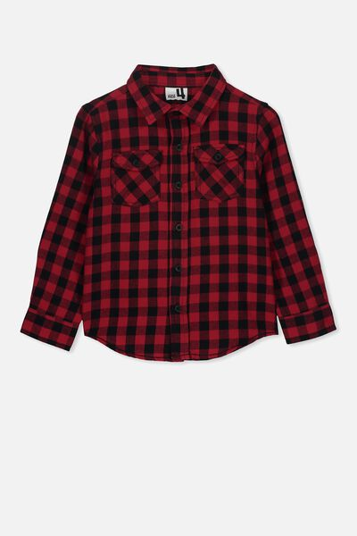 Fairfax Long Sleeve Shirt, BLACK/RED
