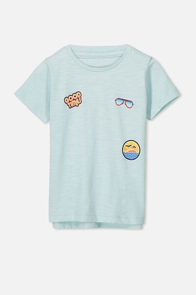 Max Short Sleeve Tee, AQUA BADGES/SIS