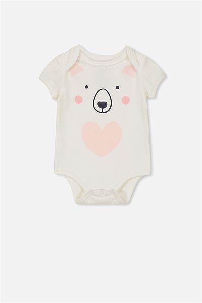 Mini Short Sleeve Bubbysuit, VANILLA/BEAR