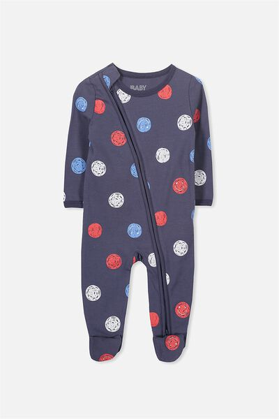 Mini Zip Through Romper, WASHED NAVY/SMILEY FACES