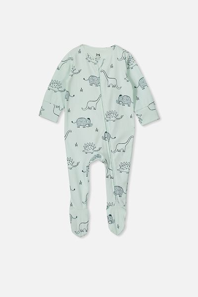 The Long Sleeve Zip Romper, MINTY BLUE/DINO MAMMOTH