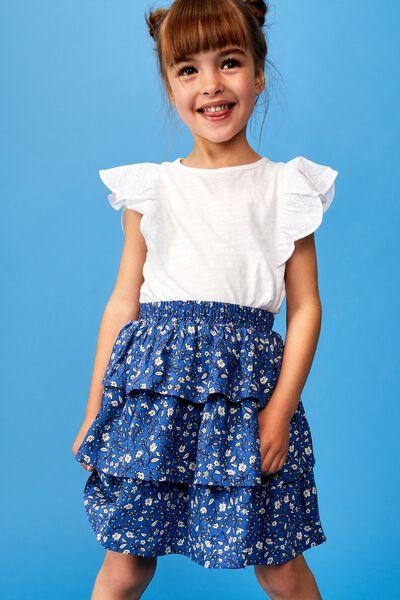 Eadie Tiered Ruffle Skirt, ROYAL BLUE SPRIGGY