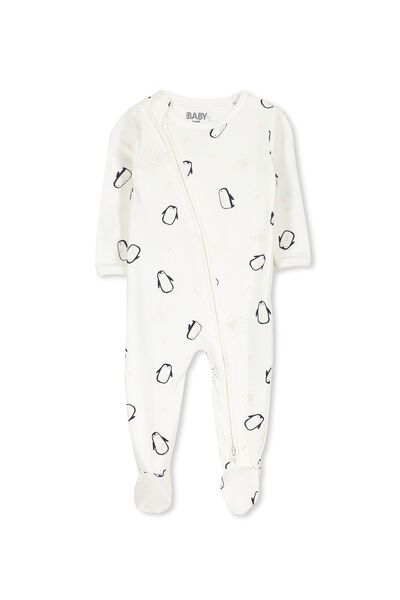 Sleep Mini Zip All In One Jumpsuit, VANILLA/FLOATING PENGUINS