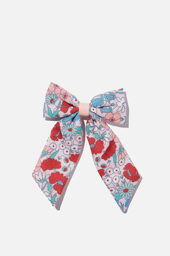 Big Bow Clips - Print, RED LIBBY FLORAL