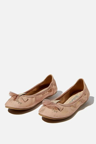 Primo Ballet Flat, MATTE ROSE GOLD UNICORN