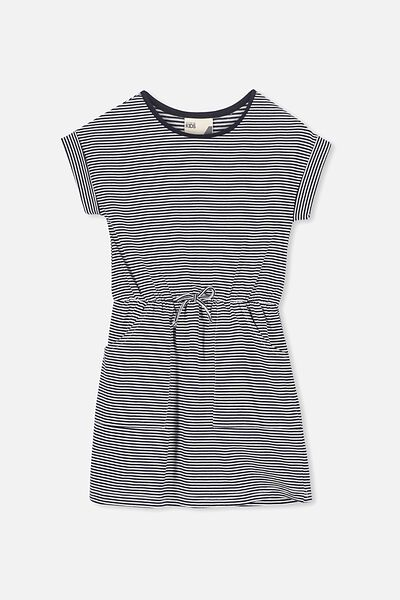 Sibella Short Sleeve Dress, PEACOAT/VANILLA STRIPE-12