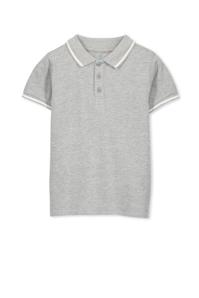 Kenny3 Polo, LIGHT GREY MARLE/TIPPING STRIPE