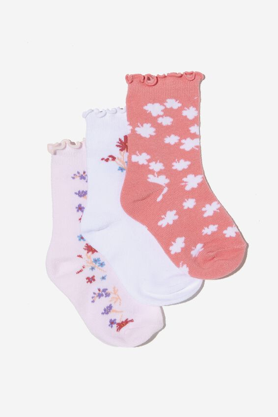 Kids 3Pk Crew Socks, CRYSTAL PINK DITSY FLORAL