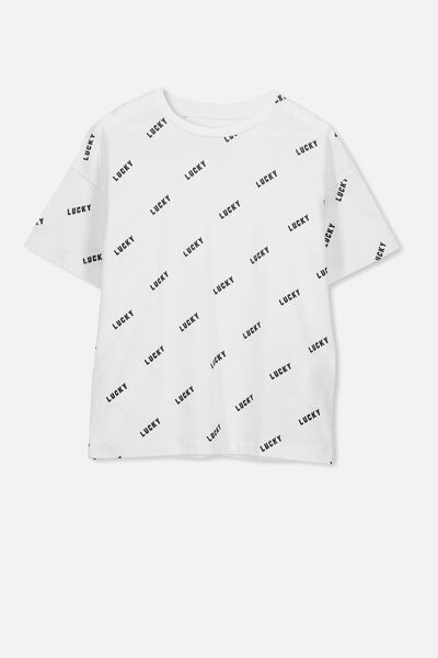 Penelope Ss Loose Fit Tee, WHITE/LUCKY YARDAGE