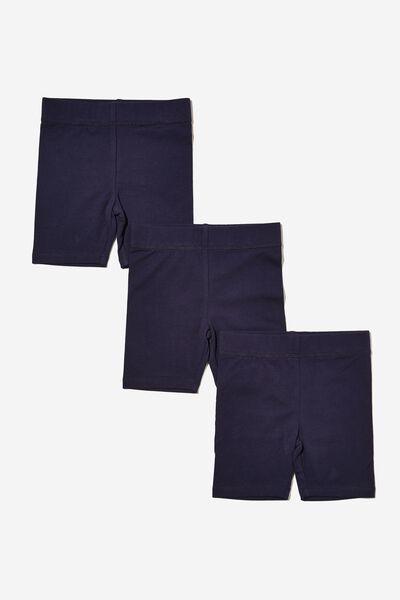 Girls Multipack Bike Shorts 3 Pack, PEACOAT BUNDLE