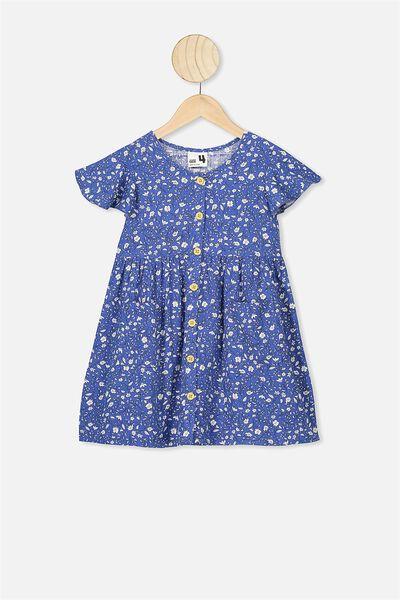 Vanessa Short Sleeve Dress, VINTAGE ROYAL BLUE/SPRIGGY FLORAL