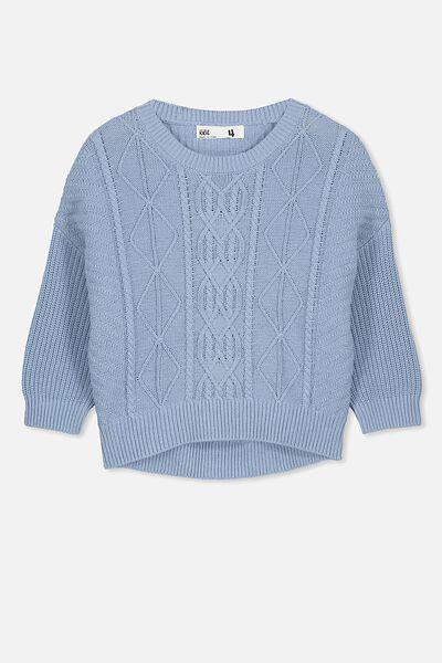 Deonne Knit Jumper, DUSTY BLUE