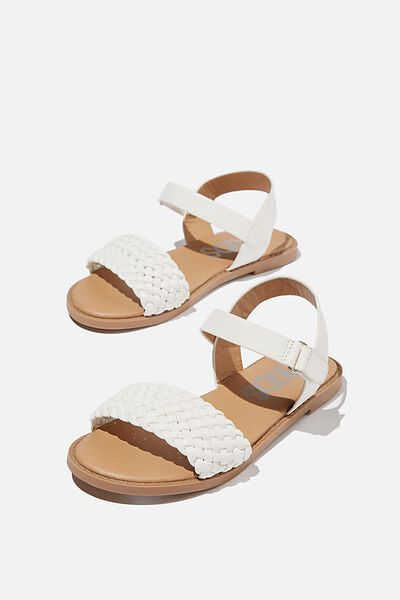 Plaited Wide Strap Sandal, WHITE