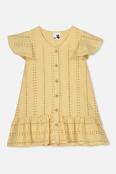 Adrienne Short Sleeve Dress, WHITE