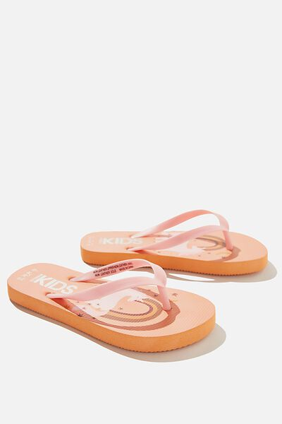Printed Flip Flops, TROPICAL ORANGE UNICORN