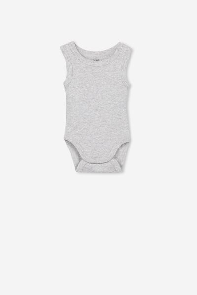Newborn Singlet Bubbysuit, LIGHT GREY MARLE