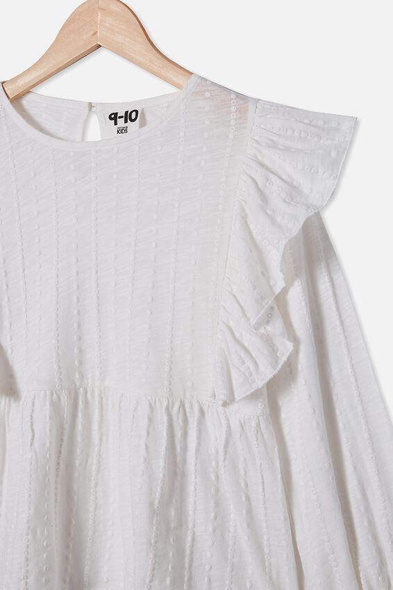 Juno Long Sleeve Frill Top, VANILLA