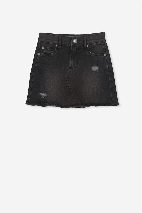 Finn Denim Skirt, WASHED BLACK RIP N REPAIR