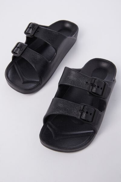 Twin Strap Slide, BLACK