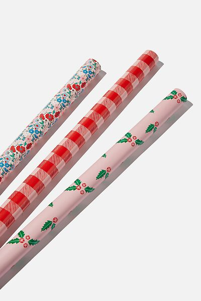 Kids Gift Wrap 3Pack, FLORAL CHRISTMAS