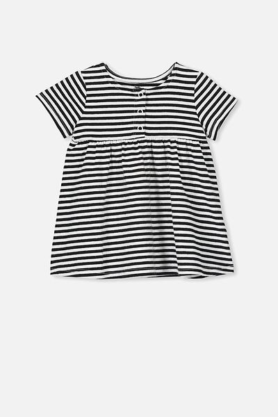 Milly Short Sleeve Dress, CHRIS STRIPE WHITE/BLACK