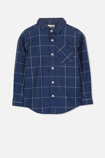 Noah Long Sleeve Shirt, NAVY WINDOW CHECK