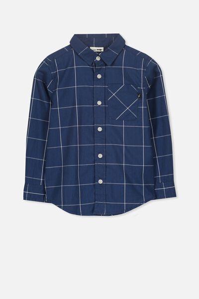 Noah Long Sleeve Shirt, NAVY WINDOW CHECK