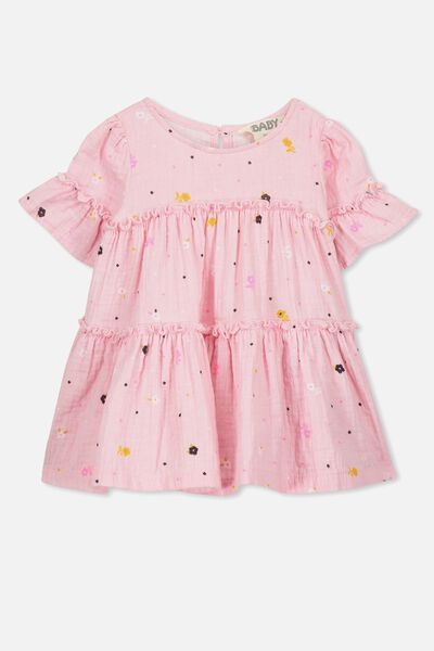 Abby Flutter Dress, CRADLE PINK/FLORAL