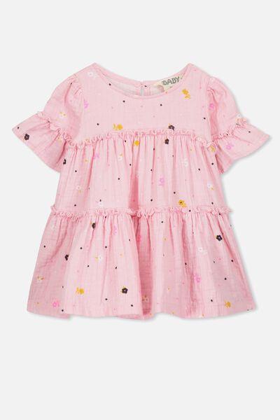 Abby Flutter Dress, CRADLE PINK/FLORAL