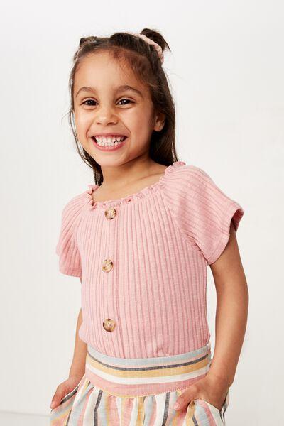 Effie Short Sleeve Button Through Top, SWEET BLUSH