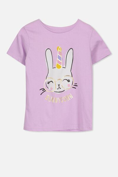 Penelope Short Sleeve Tee, SWEET LILAC/BUNNY CORN/SET IN