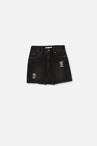 Finn Denim Skirt, BLACK WASH/RIPS