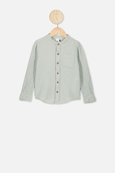Grandpa Collar Prep Shirt, STONE GREEN