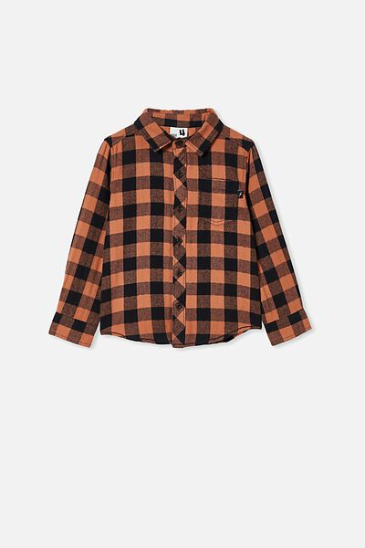 Rugged Long Sleeve Shirt, AMBER BROWN/BLACK BUFFALO CHECK