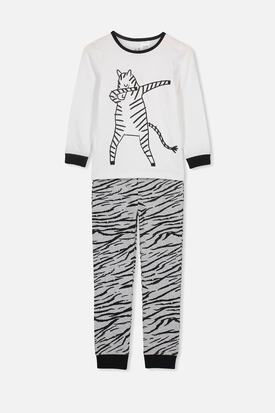 Harrison Long Sleeve Boys Pyjamas, DABBING ZEBRA