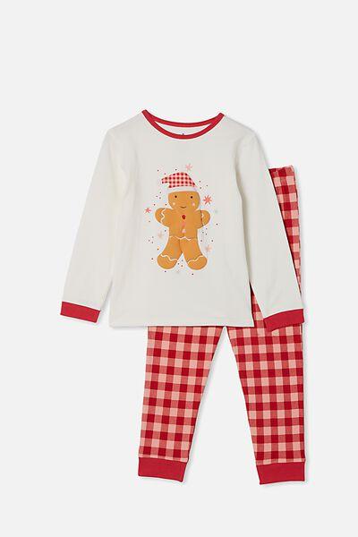 Florence Long Sleeve Pyjama Set, GINGERBREAD MAN VANILLA