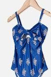 Val Cut Out One Piece, RETRO BLUE/WOOD BLOCK FLORAL